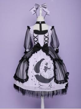 Star Moon Cat Series Sweet Lolita Half Sleeve Dress