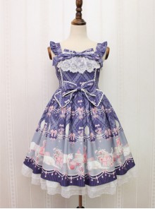 Aristocratic Cat Printing Bowknot Classic Lolita Sling Dress