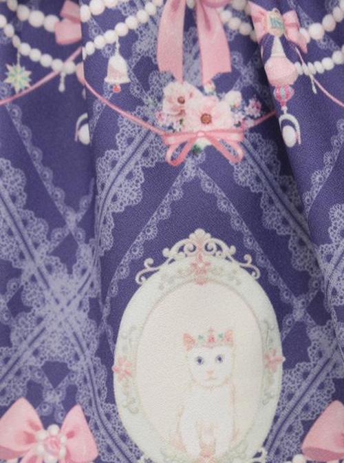 Aristocratic Cat Printing Bowknot Classic Lolita Sling Dress