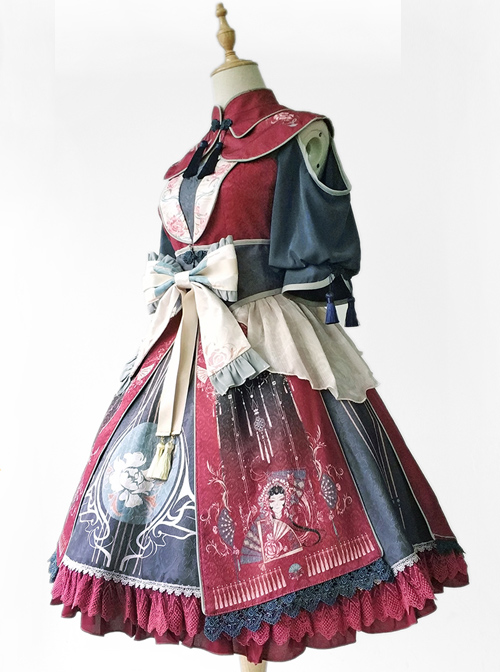 Infanta- The Traditional (Chinese) Opera Chinese Style Printing Classic Lolita Short Sleeve Dress
