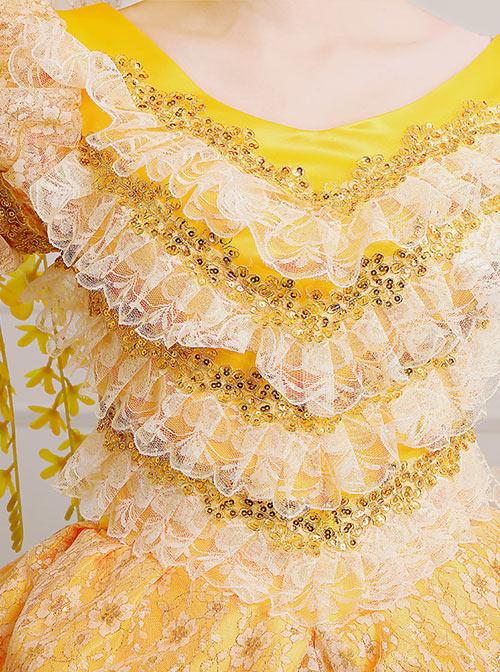 Yellow Satin Lace Lolita Prom Dress