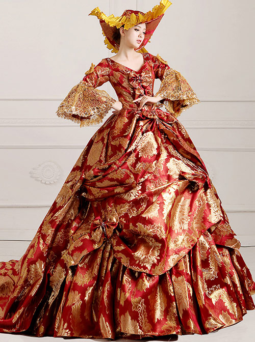 Red Trailing Style Gorgeous Lolita Prom Dress