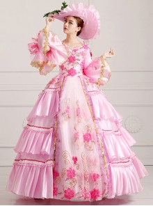 Palace Style Pink Flower Embroidery Lolita Prom Dress