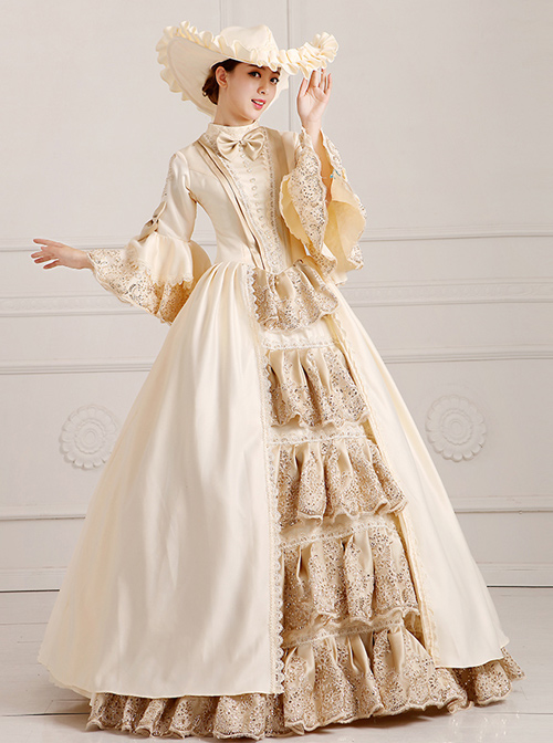 Solemn And Elegant Palace Style Stage Costume Champagne Lolita Prom Dress