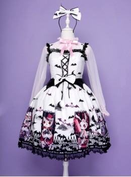 Halloween Dark Bat Coffin Printing Lace Gothic Lolita Sling Dress