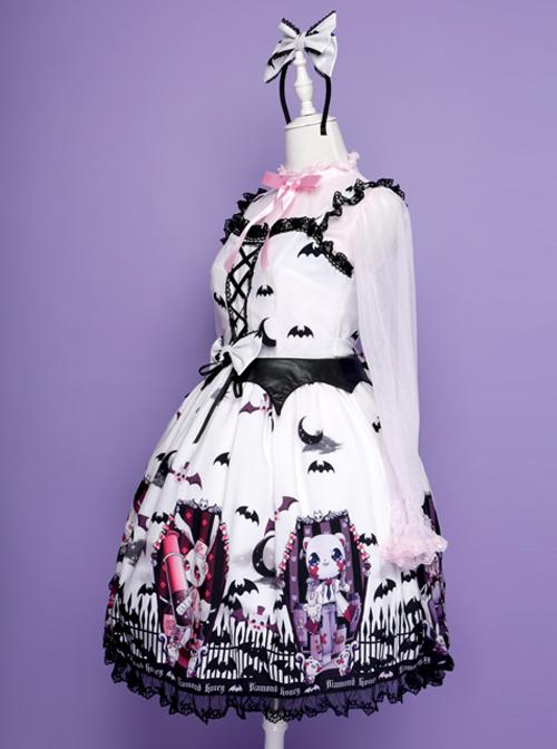 Halloween Dark Bat Coffin Printing Lace Gothic Lolita Sling Dress