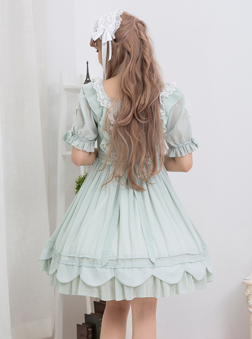 Concise Lace Ruffles Classic Lolita Short Sleeve Dress