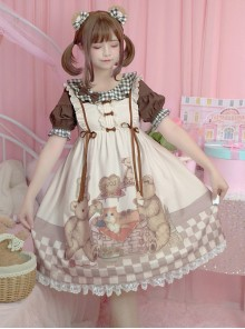 Vintage Teddy Bear Sweet Lolita Sleeveless Dress