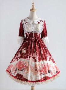 Elegant Printing Doll Collar Classic Lolita Short Sleeve Dress