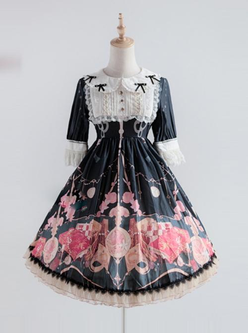 Elegant Printing Doll Collar Classic Lolita Short Sleeve Dress