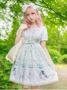 Cute Lop-eared Rabbit Printing Sweet Lolita Short Sleeve Dress