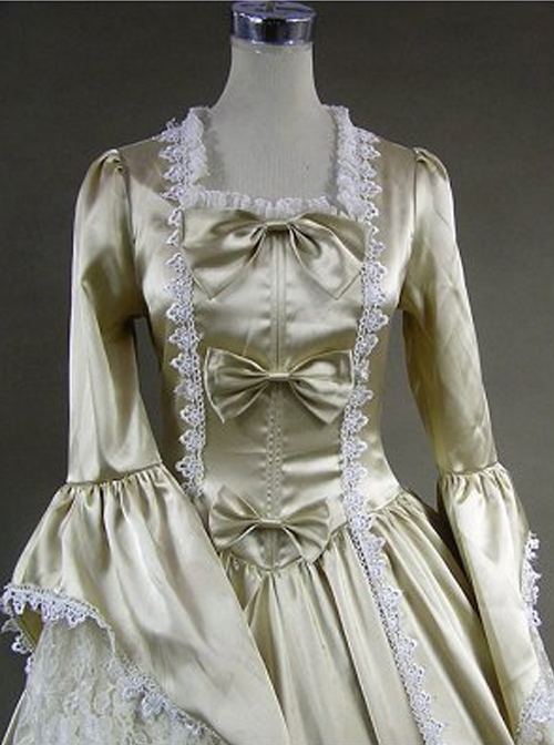 Victorian Palace Style Champagne Bowknot White Lace Lolita Prom Dress