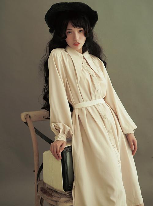 Pointed Collar Retro Puff Sleeves Long Shirt Dress