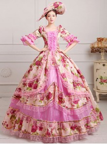 Palace Style Polychromatic Retro Lolita Prom Dress