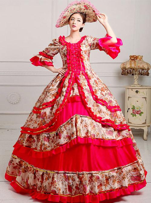 Palace Style Polychromatic Retro Lolita Prom Dress