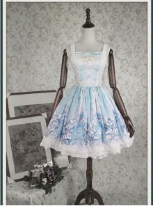 Bunny Alice printing Chiffon Lolita Sleeveless Dress Version I