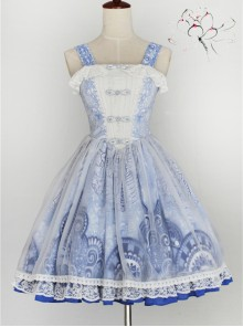 Chinese Style Embroidery Lace Qi Lolita Sleeveless Dress