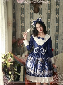 Magic Tea Party Starry Sky City Series Printing Long Sleeve Classic Lolita Dress