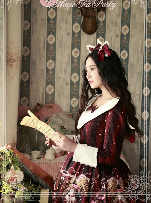 Magic Tea Party Starry Sky City Series Printing Long Sleeve Classic Lolita Dress