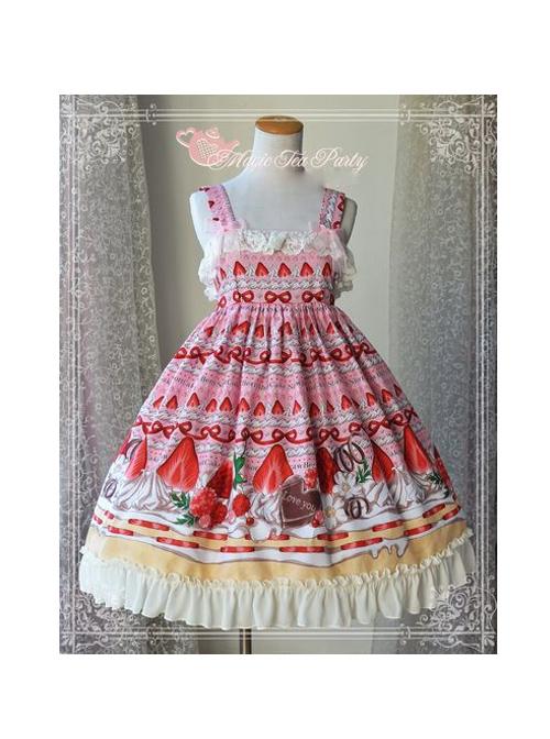 Magic Tea Party Strawberry Chocolate Series High Waist Printing Sweet Lolita Sling Dress