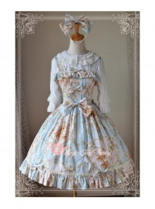 Magic Tea Party Veronica Series Light Blue Elegance Printing Classic Lolita Sling Dress