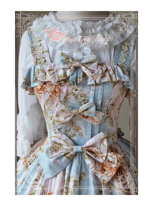 Magic Tea Party Veronica Series Light Blue Elegance Printing Classic Lolita Sling Dress