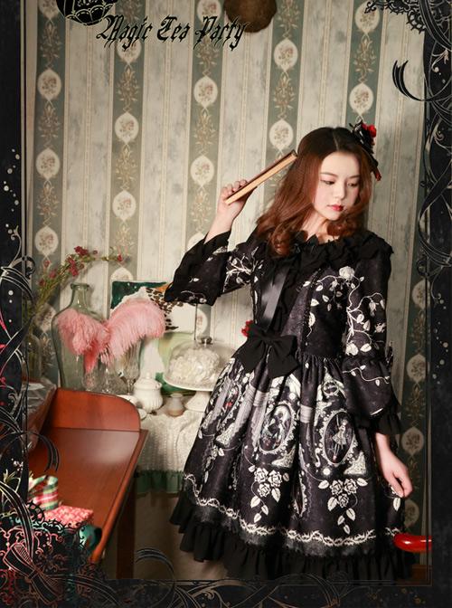 Magic Tea Party Seven Crimes Series Printing Trumpet Sleeve Classic Lolita Dress
