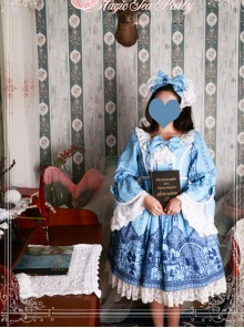 Magic Tea Party Western Style Dress Workshop Series Printing Long Puff Sleeve Classic Lolita Dress