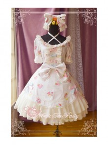 Magic Tea Party Sweet Cake Party Series Cute Printing Short Sleeve Sweet Lolita Dress