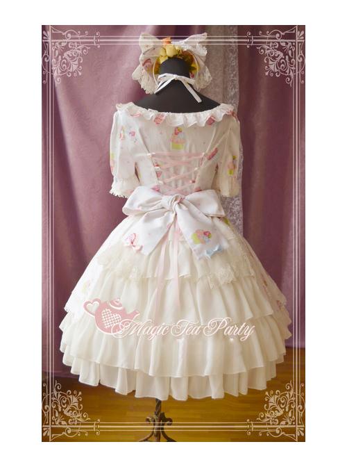 Magic Tea Party Sweet Cake Party Series Cute Printing Short Sleeve Sweet Lolita Dress