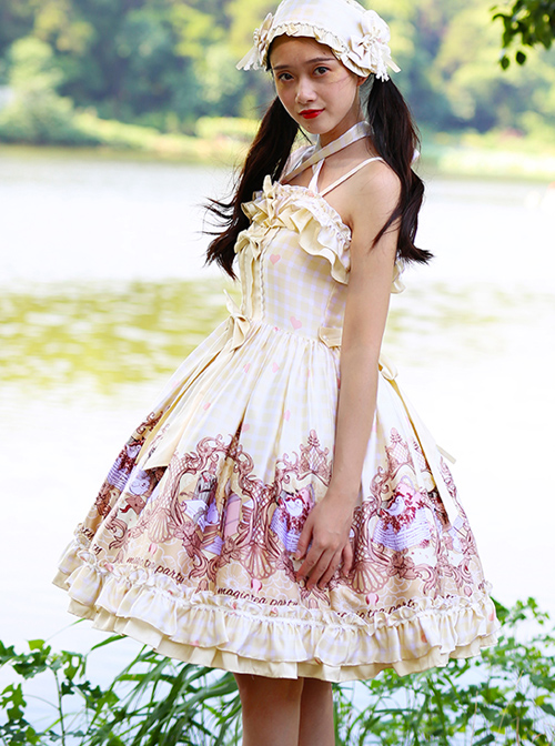 Magic Tea Party Flowers And Birds Poetry Series Sweet Lolita Sling Dress
