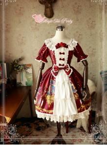 Magic Tea Party Beauty And Beast Series Printing Short Sleeve Sweet Lolita Dress