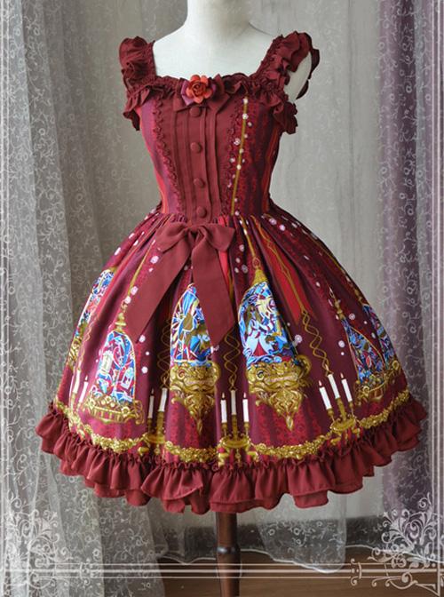 Magic Tea Party Beauty And Beast Series Printing Sweet Lolita Sling Dress