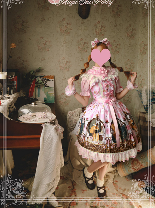 Magic Tea Party The Squirrel Couple's Afternoon Series Printing Sweet Lolita Sling Dress