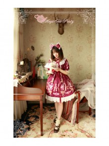 Magic Tea Party Flower Fairy Series Printing Classic Lolita Half Sleeve Dress