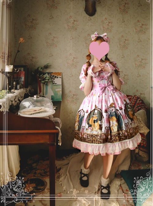 Magic Tea Party The Squirrel Couple's Afternoon Series Printing Short Sleeve Sweet Lolita Dress