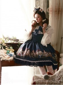 Magic Tea Party Gondola Series Printing Sweet Lolita Sling Dress