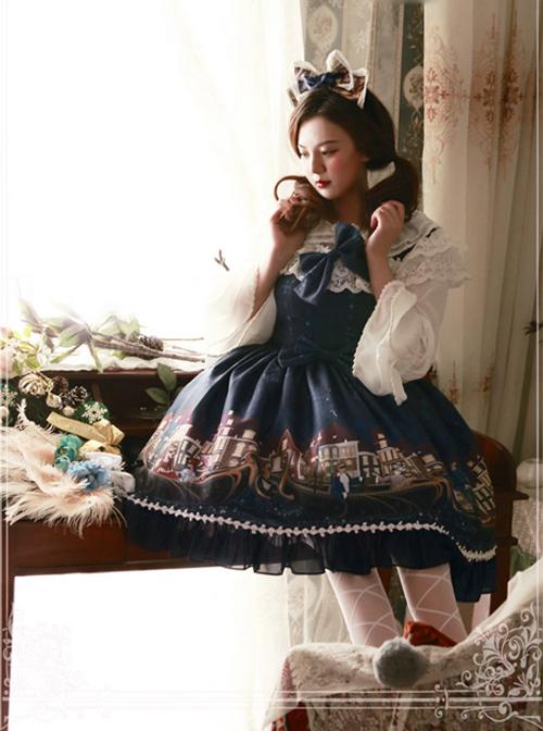 Magic Tea Party Gondola Series Printing Sweet Lolita Sling Dress