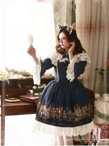 Magic Tea Party Gondola Series Printing Sweet Lolita Trumpet Sleeve Dress