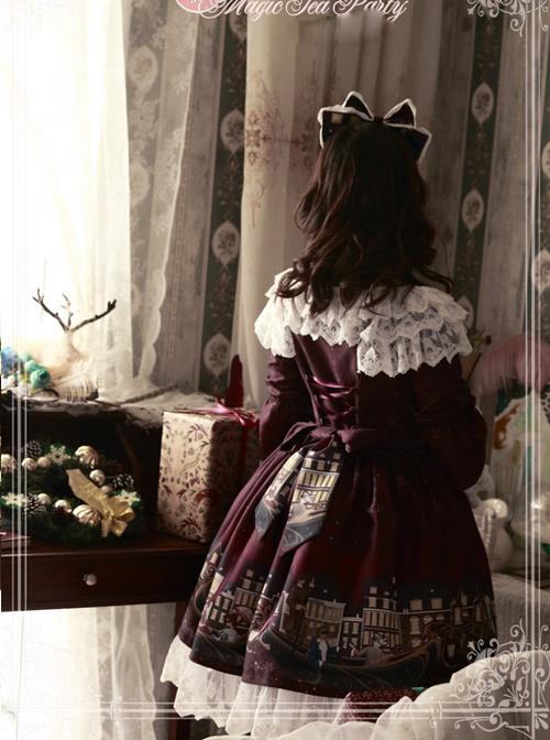Magic Tea Party Gondola Series Printing Sweet Lolita Trumpet Sleeve Dress