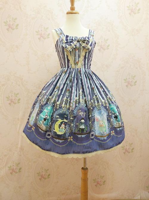 Crystal Rabbit Chiffon Bowknot Sweet Lolita Sling Dress