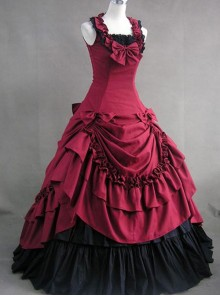 Plum Red Prom Sleeveless Gothic Victorian Lolita Dress