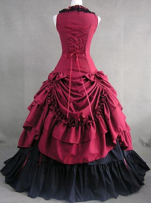 Plum Red Prom Sleeveless Gothic Victorian Lolita Dress