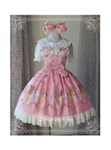Magic Tea Party Gift Bear Series Printing Lace Cotton Sweet Lolita Sling Dress