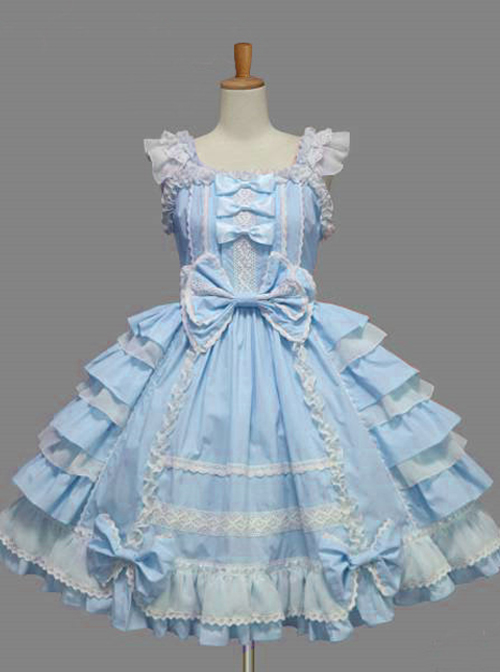 Cotton White Lace Bowknot Blue Sweet Lolita Sling Dress