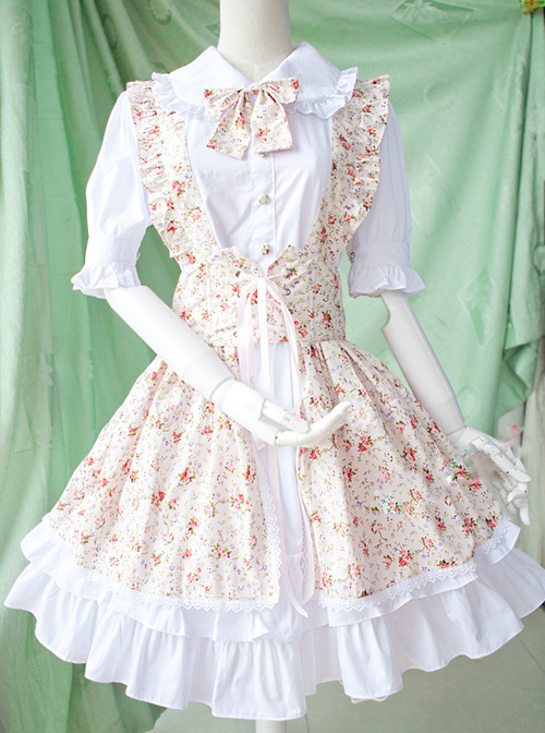 Pastoral Style Fake Two Pieces Floral Prints Sweet Lolita Short Sleeve Dress