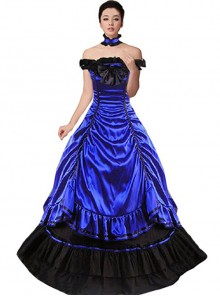 Victorian Aristocratic Gorgeous Blue Gothic Lolita Prom Dress