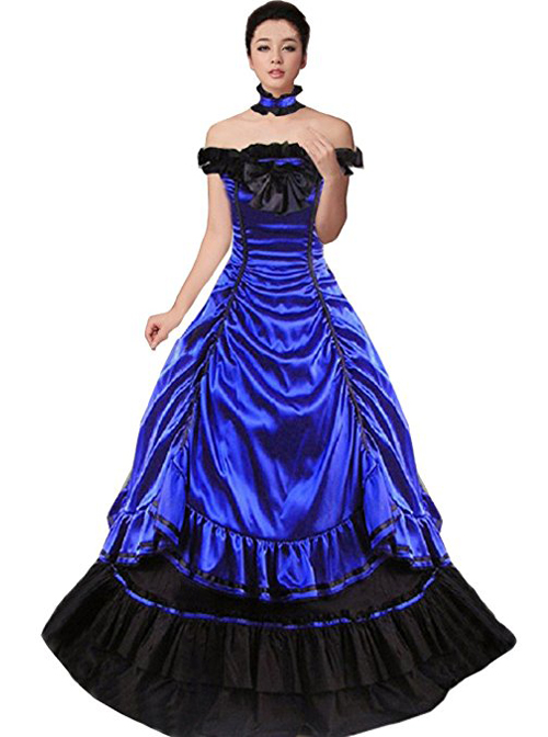 9577766a1a7 Victorian Aristocratic Gorgeous Blue Gothic Lolita Prom Dress