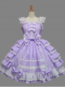 White Lace Bowknot Purple Sweet Lolita Sling Dress