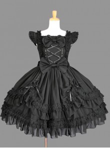 Cotton Black Lace Bowknot Gothic Lolita Sleeveless Dress